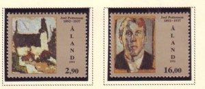 Aland Sc 69-70 1992 Pettersson Artist stamp set mint NH
