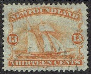 NEWFOUNDLAND 1865 SHIP 13C USED