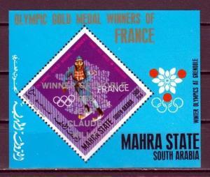 Aden-Mahra, Mi cat. 162, BL18. J. C. Killy o/p on French Olympic Winners s/sht.