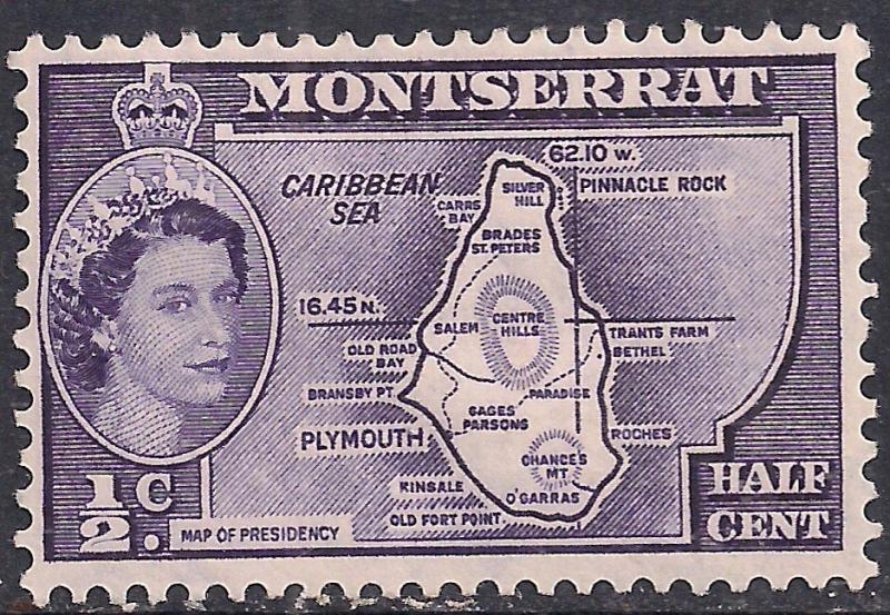 Montserrat 1953 - 63 QE2 1/2 ct Deep Violet MM SG 136a ( J1145 )