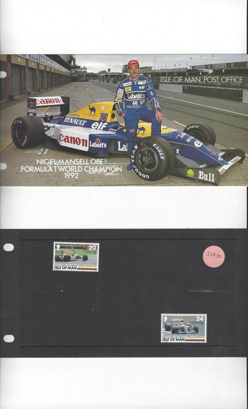 Isle of Man 529-30 Nigel Mansell MNH Presentation Folder