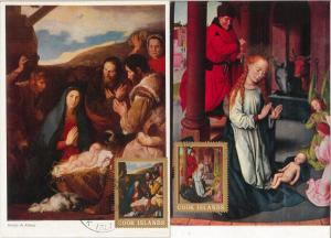 52653  - COOK ISLANDS -  SET of 5 MAXIMUM CARD - 1970  art  RELIGION