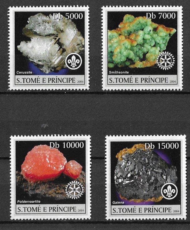 St. Thomas & Prince MNH Set Of Minerals Sciences