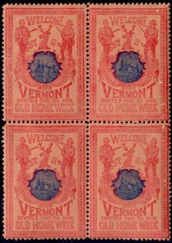 US 1901 Vermont Old Home Week Block of 4 Poster Stamps (R-B-S)