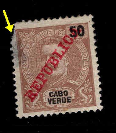 Cabo or Cape Verde Scott 91 MH* Faulty King Carlos stamp