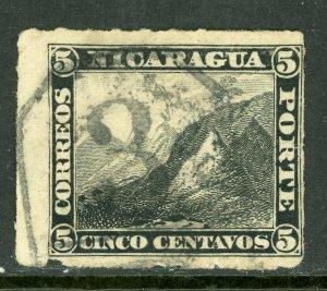 Nicaragua 1877 5¢ Black Momotombo Roulette w/Granada Cancel L217
