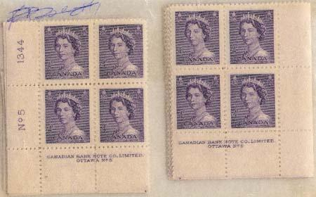 Canada - 1953 4c Violet QE Karsh Plate Blocks mint #328