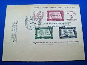 UN NEW YORK - SCOTT #38 - 1955 10th ANNIVERSARY FDC