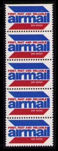 UNITED STATES OLD 1984  AIR MAIL LABELS PANE OF 5, NICE LOT, SEE THE SCANS