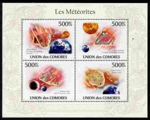 Comoro Islands 2010 Meteorites perf sheetlet containing 4...
