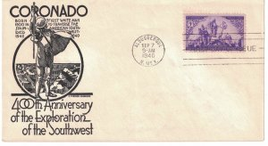 #898 FDC, 3c Coronado Expedition, 3 diff. cachets