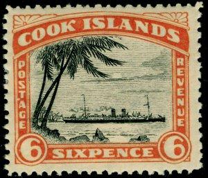COOK ISLANDS SG104a, 6d black & orange, M MINT.