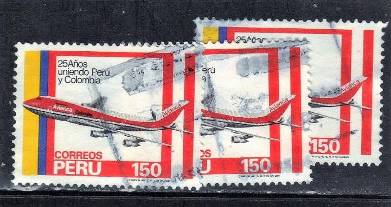 PERU SC# 787 USED 1983 150s  JET AIRMAIL SERVICE (3) SEE SCAN