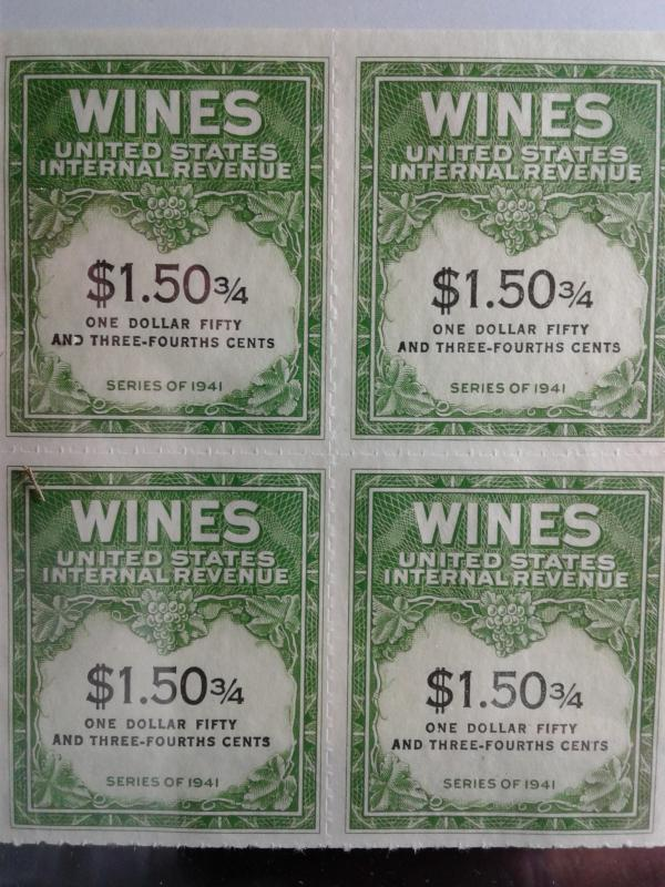 SCOTT # RE 195 MINT NEVER HINGED BLOCK OF 4 GEMS NGAI TWO LINES WINE STAMPS
