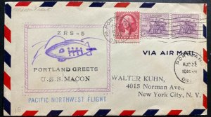 1934 Portland OR USA USS Macon Airship zeppelin Greetings cover To New York