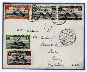 EGYPT Cover Air Mail Alexandria GB Surrey 1933{samwells-covers}EP401