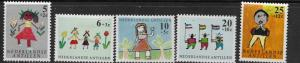 CURACAO, B59-B63, MINT HINGED, CHILD AND FLOWERS