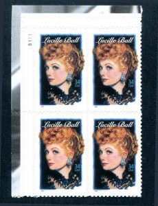 US #3523 34¢ Legends of Hollywood Lucille Ball Plate Block of 4  VF NH MNH
