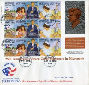 MICRONESIA 1992 25th ANNIVERSARY OF THE PEACE CORPS WITH JFK FIRST DAY COVER