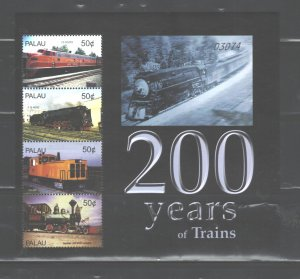 PALAU  2004  TRAINS MS.#784  MNH