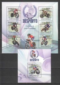 BC1351 2010 MOZAMBIQUE SPORT CYCLING WOMEN CHAMPIONS 1KB+1BL MNH