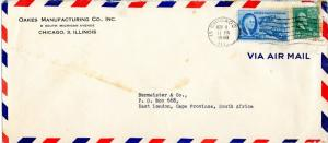 U.S. Scott 825 Prexie & 933 on Air Mail 1948 Cover to South Africa
