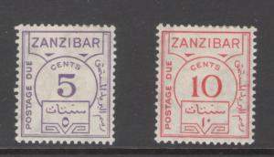 Zanzibar 1936 Postage Due Scott # J18 - J19 MH