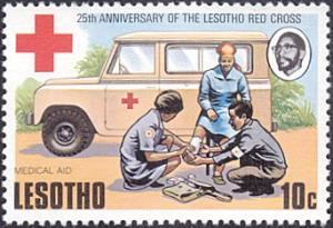 Lesotho # 196 mnh ~ 10¢ Red Cross, First Aid Team and Truck