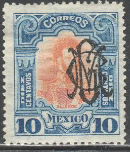 MEXICO 460, 10c VILLA MONOGRAM REVOLUT OVPERPRINT. UNUSED, H OG. F-VF. (3B)