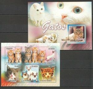 BC808 2010 S. TOME & PRINCIPE FAUNA PETS CATS GATOS 1BL+1KB MNH
