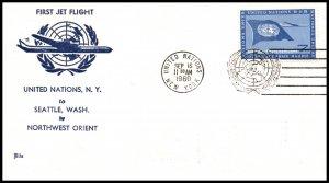 UN New York to Seattle,WA Northwest Orient First Jet Flight Cover