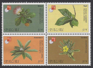 Palau #421a-d mint, set flowers issued for Hong Kong 97