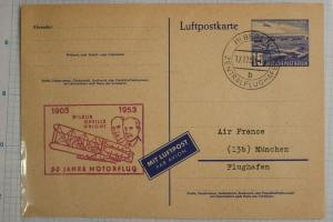 Germany Postcard airmail Berlin airport P16b official 1953 Wright bros flight DC