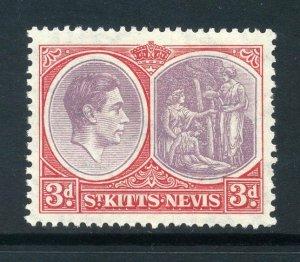 St Kitts 1938 KGVI 3d perf 13x12 ordinary paper SG 73 mint