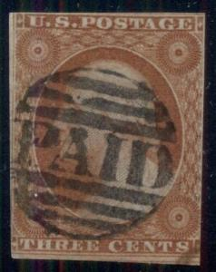 US #10var 3¢ orange brown on PART INDIA PAPER, Scott listed var, used PF cert