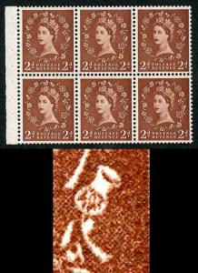 SB78e 2d Light Red-Brown Wmk Edward Upright Booklet Pane Bud on Thistle Flaw U/M