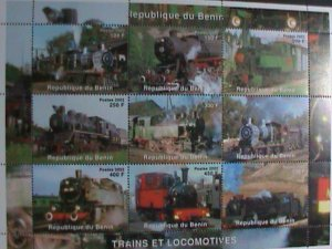 BENIN-STAMP-2002 CLASSIC TRAINS CTO- MNH STAMP SHEET RARE