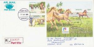 RARE VANUATU AIR REGISTERED COVER HORSE FAUNA TO ARTSAKH KARABAKH ARMENIA R18326