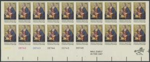 #1579a CHRISTMAS PLATE NO. BLOCK OF 20 IMPERF MAJOR ERROR WL8458