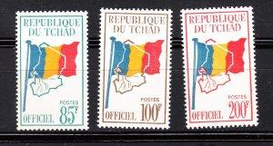 J28370, 1966-71 chad hv,s of set mnh #o9-11 flags