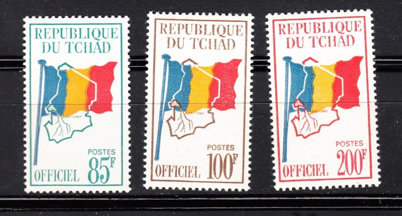 J28370, 1966-71 chad hv,s of set mnh #o9-11 flags