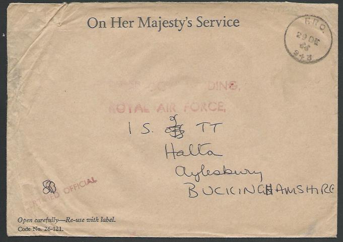 CYPRUS 1966 GB FORCES OHMS cover ex FPO 943 RAF EPISKOPI...................11983