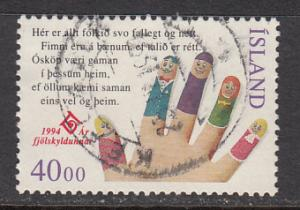 Iceland SC# 779  1994 Year of Family used