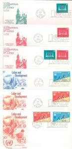 UNITED NATIONS  LOT OF  36 UADDRESSED CACHETED FIRST DAY COVERS