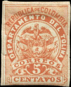 Colombia - Tolima  Scott #62a Imperf Mint Hinged