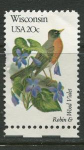 USA - Scott 2001 - State Birds & Flowers - 1982 - MNG - Single 20c Stamp