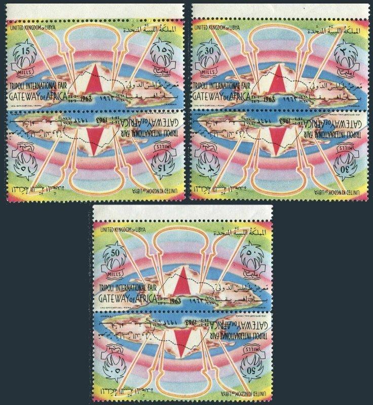 Libya 231-233 tete-beche, MNH. Mi 128-129. Tripoli Fair Gateway of Africa, 1963.