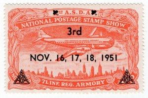 (I.B) US Cinderella : 3rd National Postage Stamp Show (New York 1951)