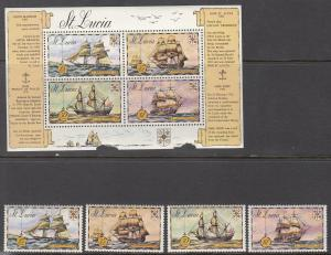St Lucia, Sc # 337-340a, MNH, 1972, S/S, Damaged - see scan