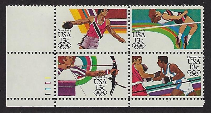 Catalog #2048 51 Plate Block of 4 Stamps Summer Olympics Discus Archery Boxing